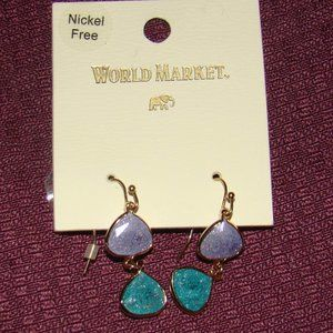 Cost Plus World Market Earrings Purple & Turquoise